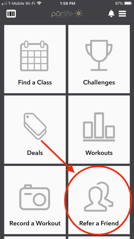 app screenshot referral button